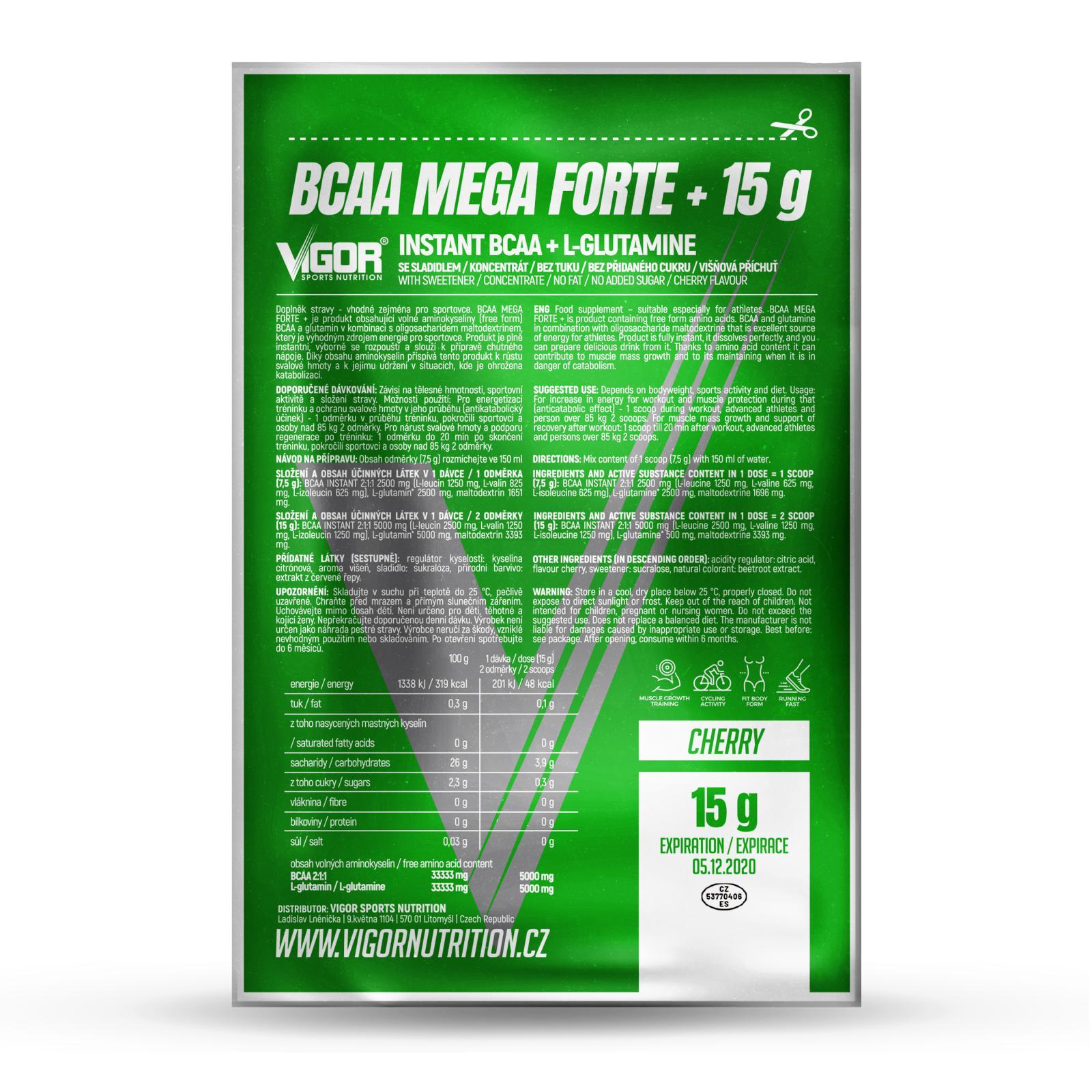 BCAA MEGA FORTE+ - vzorek (15 g) Příchuť višeň